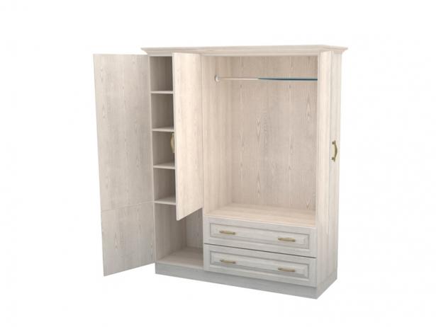 Распашной шкаф 3-х створчатый с ящиками Эдем беленый дуб