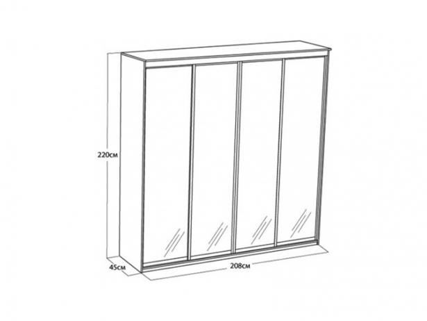 Размеры шкаф-купе Элит 4-х дверный зеркальный