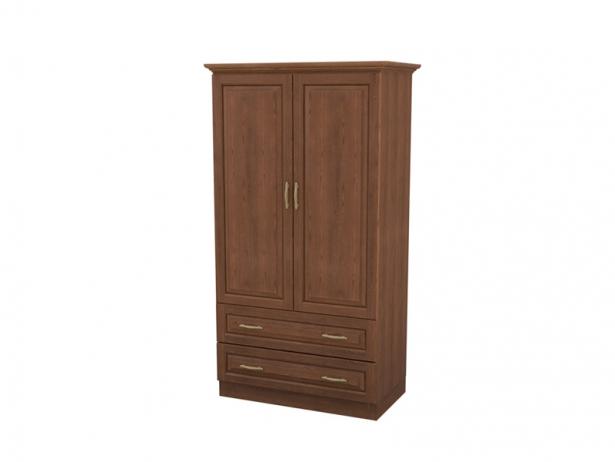 Недорогой шкаф распашной 2-х створчатый Эдем с ящиками орех