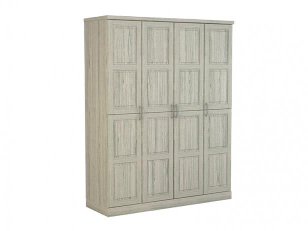 Белый шкаф распашной 4-х створчатый Варна беленый дуб