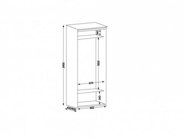 Шкаф купе Элит 2-х дверный с зеркалами ширина 90 см
