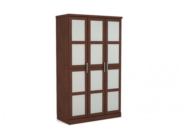 Шкаф распашной со стеклами 3-х створчатый Парма орех